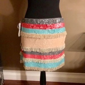 Zara Mini Skirt with Fringes and sequins NWT